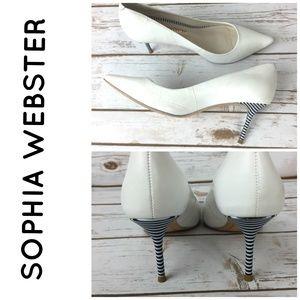 Sophia Webster White Stripe Leather Stiletto Pumps